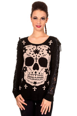 Corset sleeves sugar skull knit sweater top