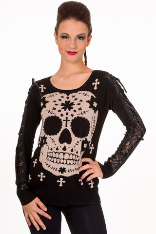 Mexican Sugar Skull & Cross Lace-up Sleeve Sweater - Skelapparel