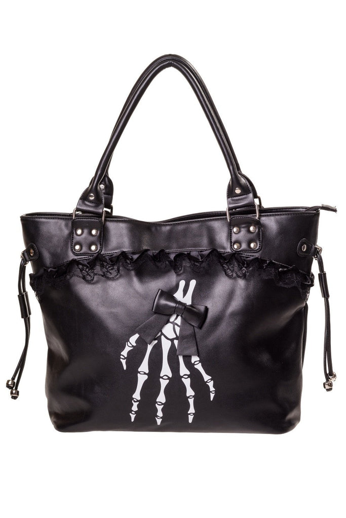 Gothic Lolita Skeleton Hands and Black Bow Lace Trim Handbag - Skelapparel