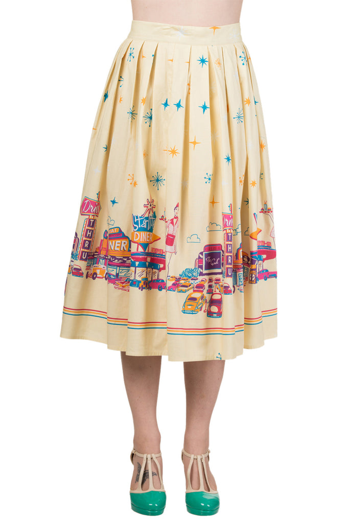 60's vintage inspired print pleated skirts