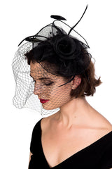 Victorian Gothic Bridal Flower w/ Feather Lace Net Veil Moulin Rouge Fascinator Hair Clip - Skelapparel