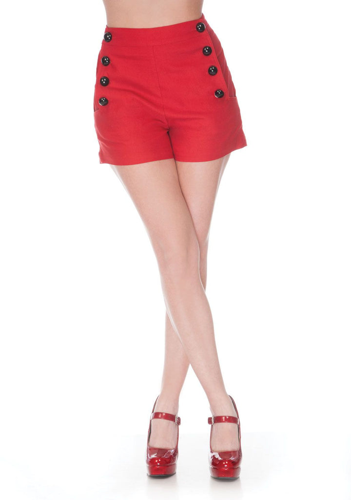 Pinup 60's Bombshell Sexy Red Stretch High Rise Waisted Sailor Shorts - Skelapparel - 1
