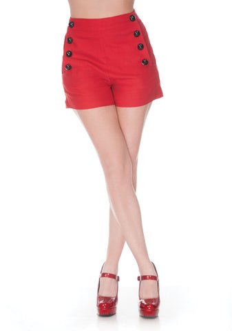 Pinup 60's Bombshell Sexy Red Stretch High Rise Waisted Sailor Shorts - Skelapparel