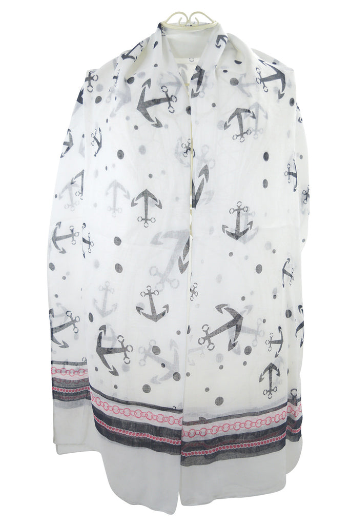 Nautical Dream Anchor & Dots Large Fashion Scarf - Skelapparel - 1