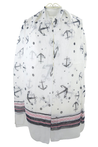 Nautical Dream Anchor & Dots Large Fashion Scarf - Skelapparel