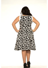 Bow print dress plus size