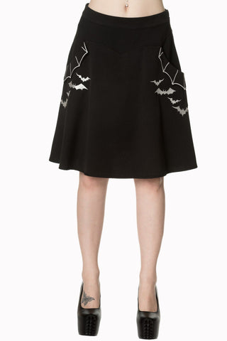 Batting Eyelids Skater Gothic Bats Black Skirt With Pockets
