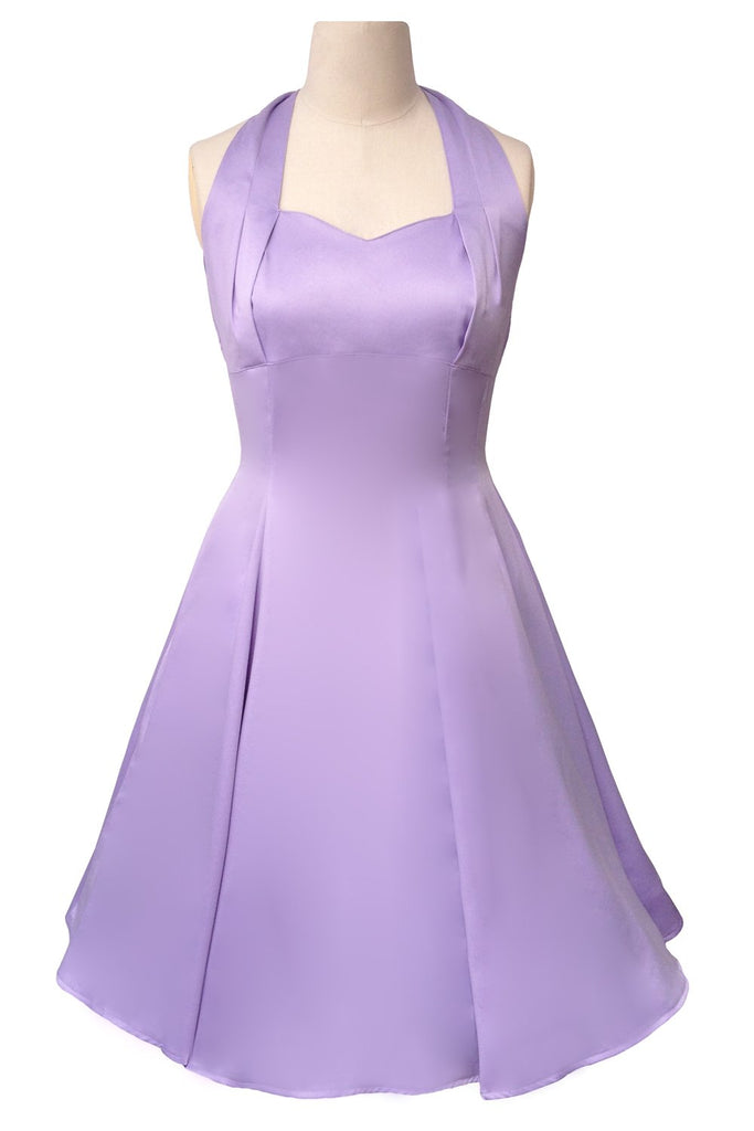Hell Bunny Classic Marilyn Lavender Satin Halter Flare Party Dress ...