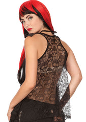 Alchemy Gothic Skull & Clock Sheer Skull Lace Back w/ Bow Flare Tank Top - Skelapparel