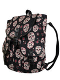 Day of the Dead Muertos Flower Sugar Skull Canvas Backpack - Skelapparel