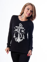 Nautical Tattoo Girl Anchor and Rope LS top