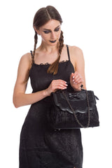 Scarlet Illusion Handbag - Gothic Elegance Black Lace Purse