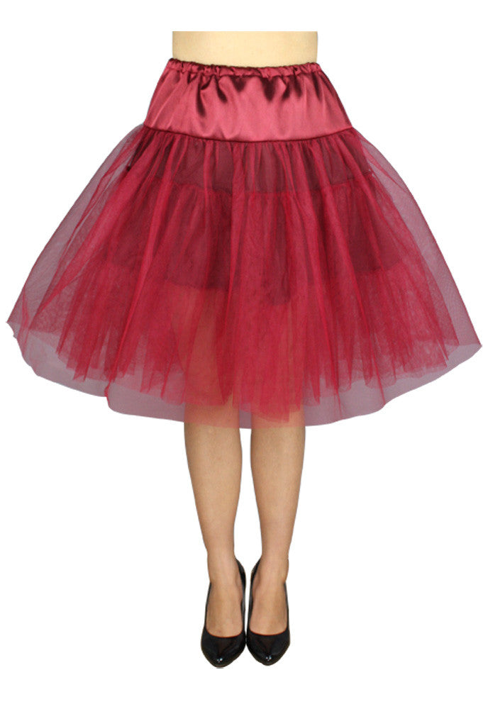 Viva Dance Wine Red Petticoat Three Layers Underskirt Pannier - Skelapparel - 1