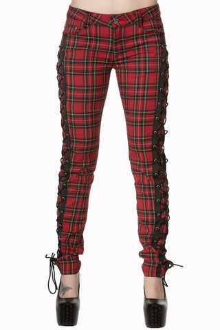 Gothic Punk Rock Red Tartan Plaid Side Corset lace-up jeans Skinny Jeans Pants - Skelapparel