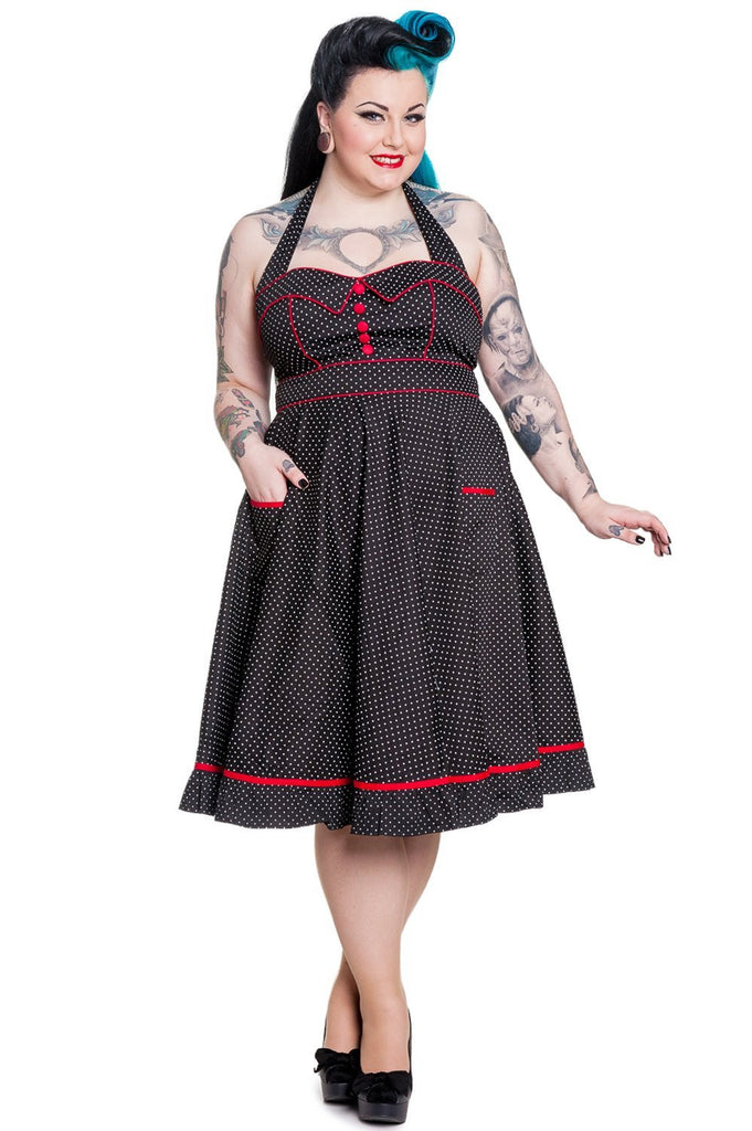 Hell Bunny Plus Size Rockabilly Love Polka Dot and Red Piping Swing Dress - Skelapparel - 1