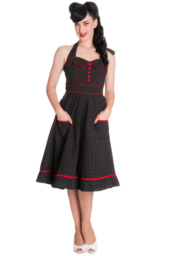 Hell Bunny 60's Rockabilly Vintage Polka Dot and Red Piping Black Halter Party Dress - Vanity Dress - Skelapparel