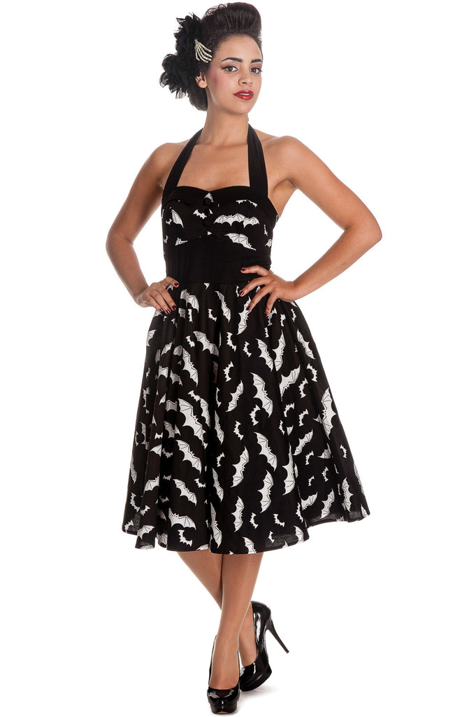 Rockabilly Gotham City Bat Attack Mini Bats Print Halter Party Dress - Skelapparel