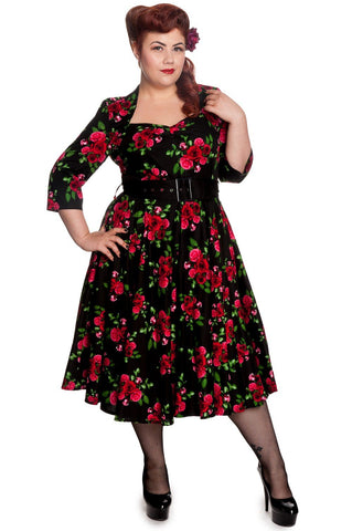 Hell Bunny 50's Eternity 3/4 sleeves Red Roses Floral Vintage Black Dress - Skelapparel