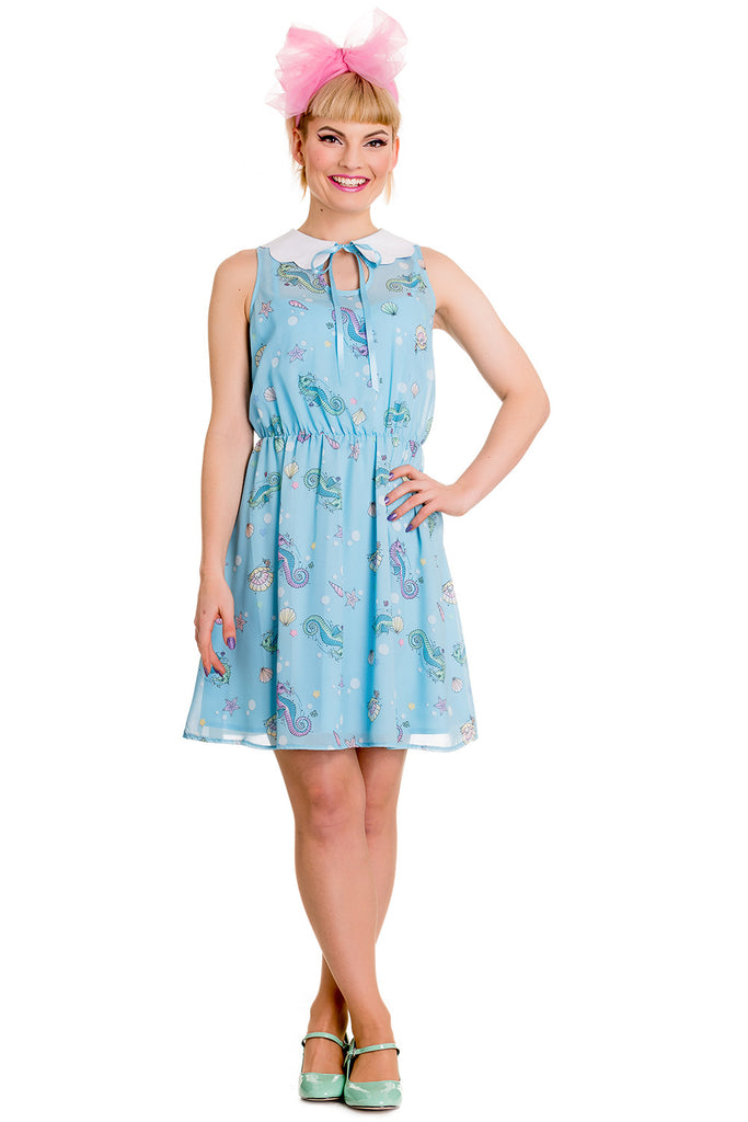 Nautical Sea Life Blue chiffon min dress