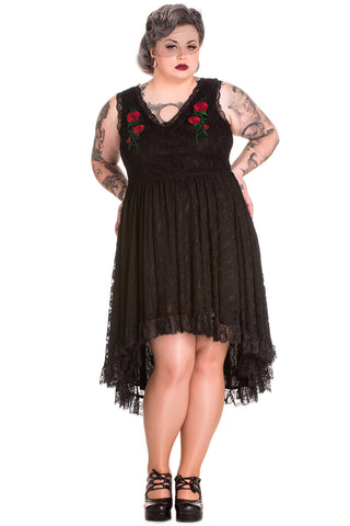 Gothic Romance Midnight Dance Black Floral Lace High-low Party Dress