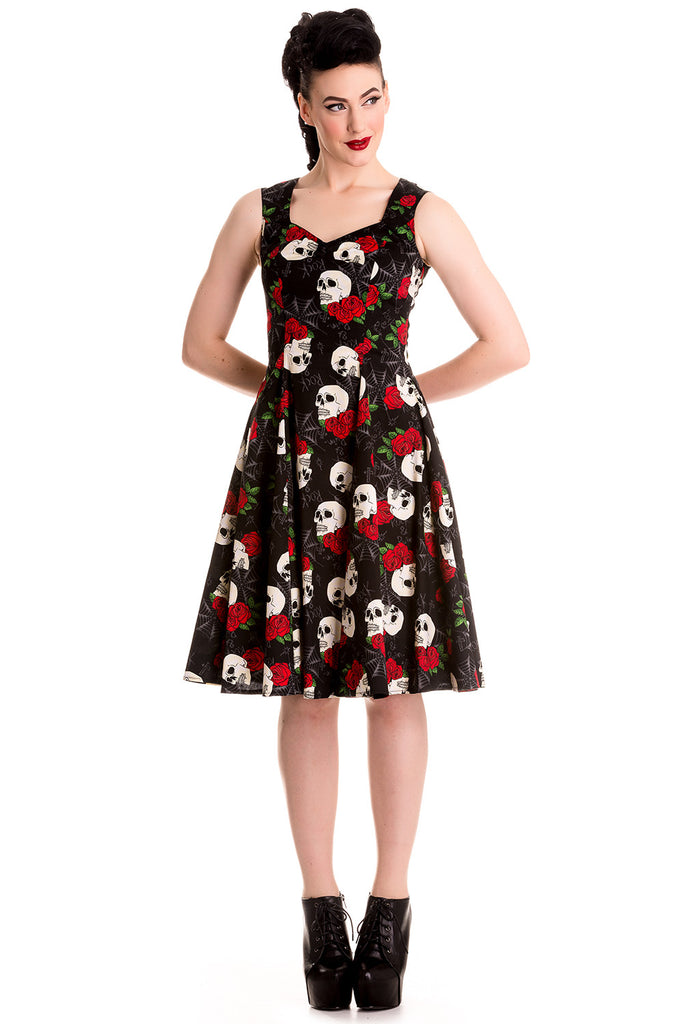 Hell Bunny Gothic Beautiful Dark Side Queen Skull & Rose Flare Party Dress - Skelapparel - 1