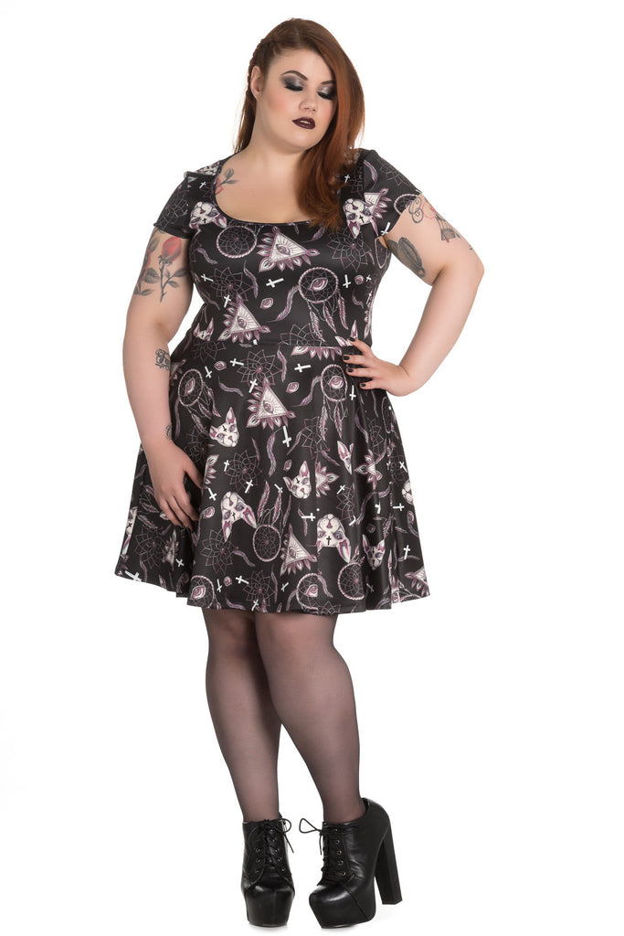 Hell Bunny Gothic Dark Side Sphynx Cat & Witchy Magic Skater Dress - Skelapparel