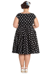 Hell Bunny Plus 50's Retro Mod Black White Polka Dot Flare Party Dress - Skelapparel - 2