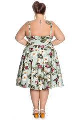 Hybiscus Flower Tropical Print flare party dress