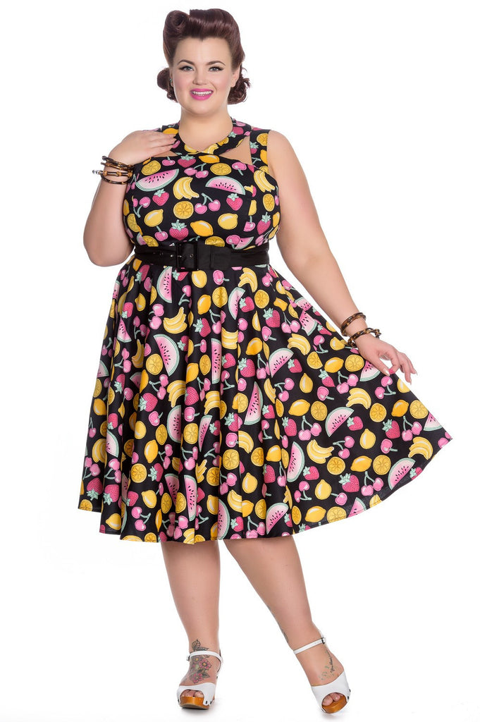 f0e7768afbfa7 Hell Bunny Cocktail Fruit Party Strawberry Cherry Lemon Fruit Print Swing  Party Dress - Skelapparel