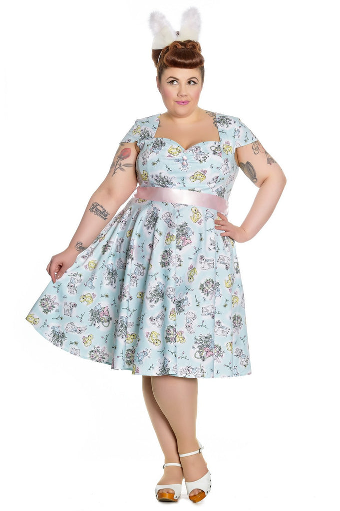 Hell Bunny Vintage Hallmark Easter bunnies, lambs and chicks Print Mint Blue Party Dress - Skelapparel
