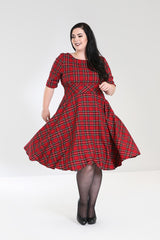 Hell Bunny Irvine Red Stewart Tartan Check Retro Vintage Party Dress - Skelapparel