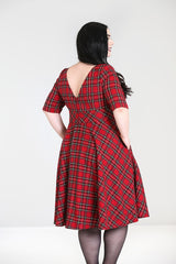Hell Bunny Irvine Red Royal Stewart Tartan Check Vintage Retro Party Dress - Skelapparel