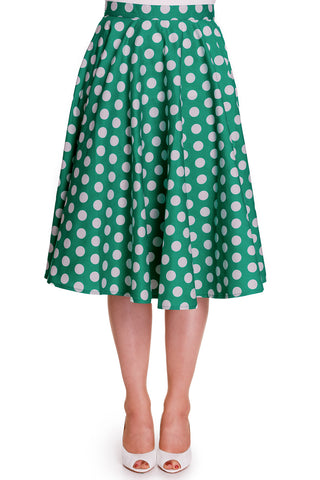 50's Polka dot Green White Polka Dot Mariam Circle Swing Skirt - Skelapparel