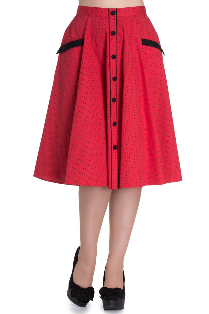 Retro Jitterbug Inspired Swing Dance Love Red polka dot Circle Skirt - Skelapparel