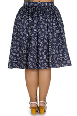 Hell Bunny Marin Navy Flare Circle Skirt