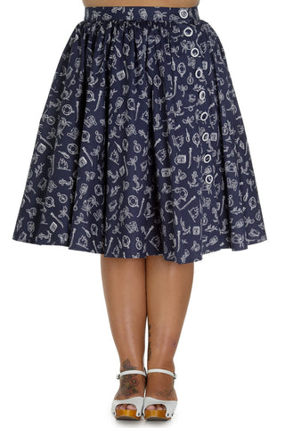 Plus size Nautical theme print swing skirt