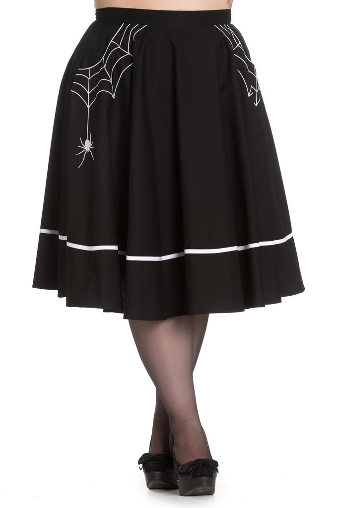 Goth Night Spiderweb and Spider Miss Muffet Flare Skirt in Black - Skelapparel