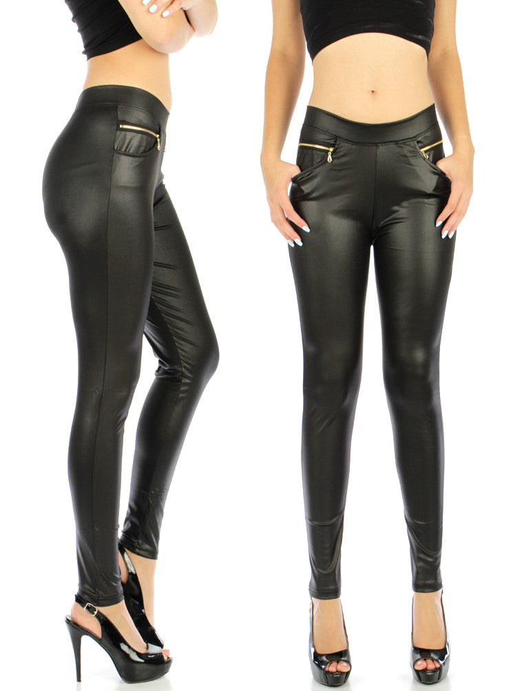 Rockabilly Goth Trendy Zipper Pocket Black Liquid Leggings - Skelapparel