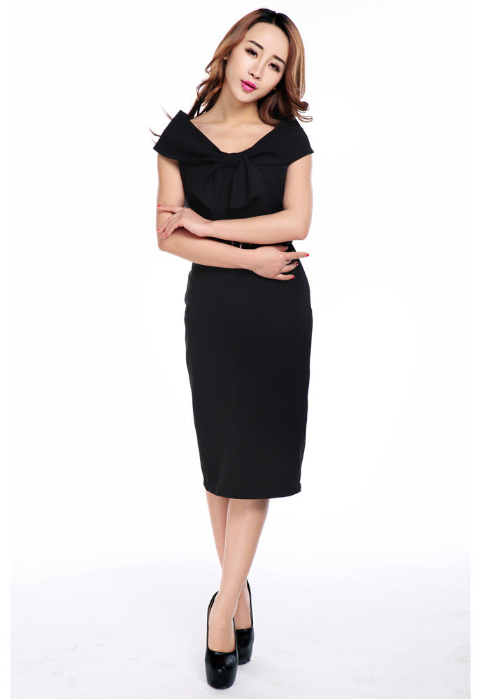 Vintage 60's Audrey Hepburn Inspired Wide Off Shoulder Black Pencil Dress - Skelapparel