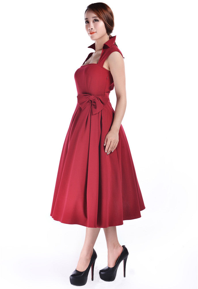 50's Vintage Design Rockabilly Vamp Red Belted Party Dress with Bow Accent - Skelapparel
