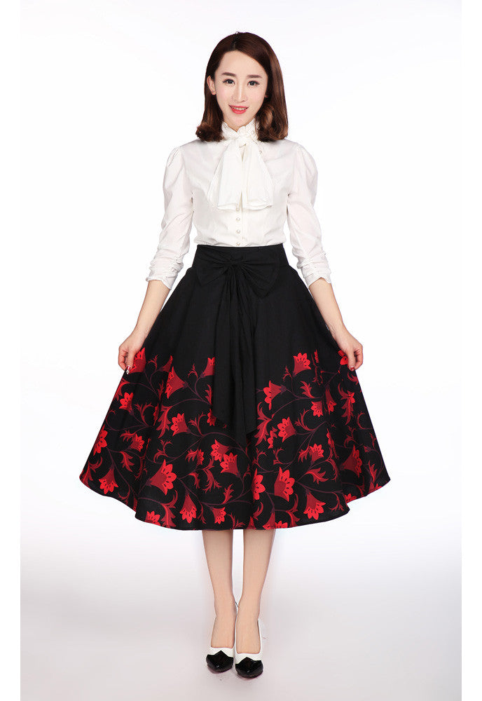 Flower design black midi skirt