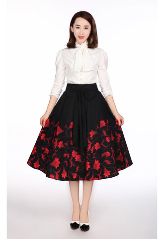 40's Retro Vintage Floral Print Midi Skirt with Bow Belt Black - Skelapparel