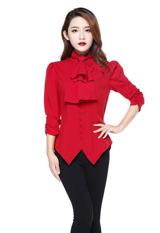 Gothic Victorian Steampunk Red Ruffle Tie Neck Ruched Sleeve Blouse - Skelapparel