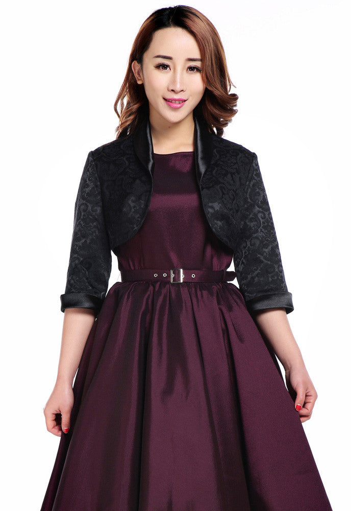 Elegant Jacquard Black Satin Trimmed Cropped 3/4 Sleeve Party Bolero Jacket - Skelapparel - 1
