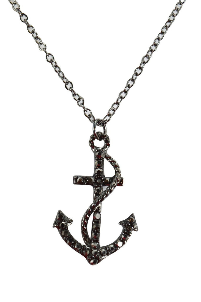 Nautical Navy Crests Fouled Anchor with Crystals Fashion Necklace - Skelapparel - 1