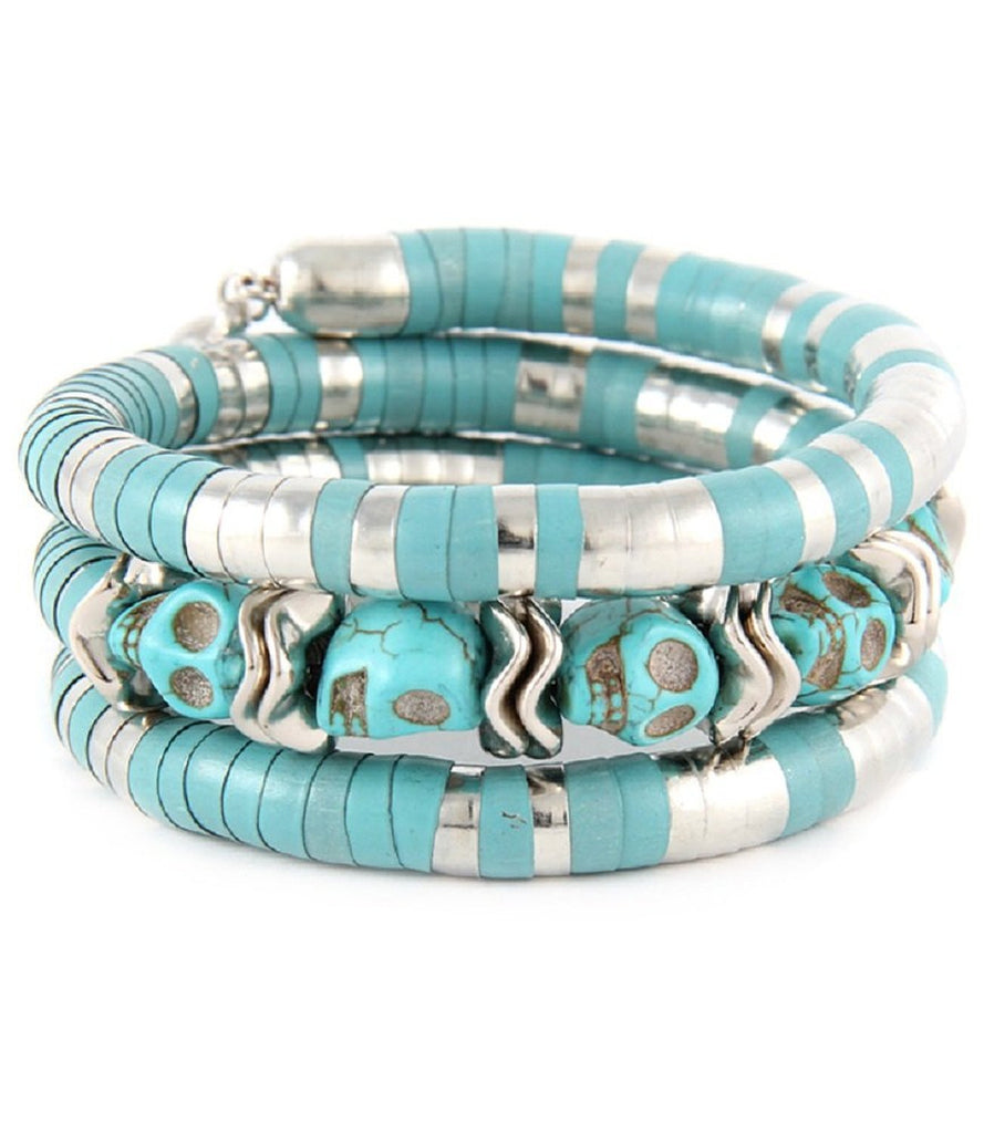 Western Cowgirl Rock Turquoise Skull Layered Wristwrap Stretch Bracelet - Skelapparel