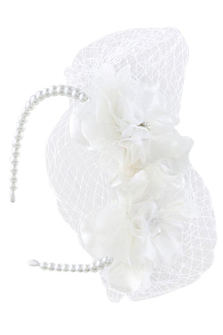 Vintage Inspired Bridal Party Flower Accent with Veil Net Pearl Headband - Skelapparel