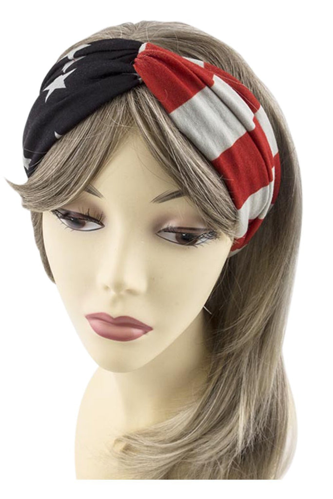 USA American Flag Womens Patriotic American Flag Campus Elastic Headband - Skelapparel