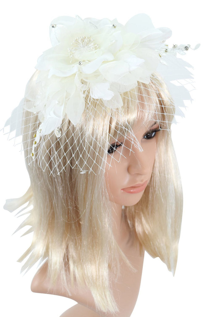 Victorian Vintage Bridal Flower White Feather Lace Net Fascinator with Pearl Headband - Skelapparel