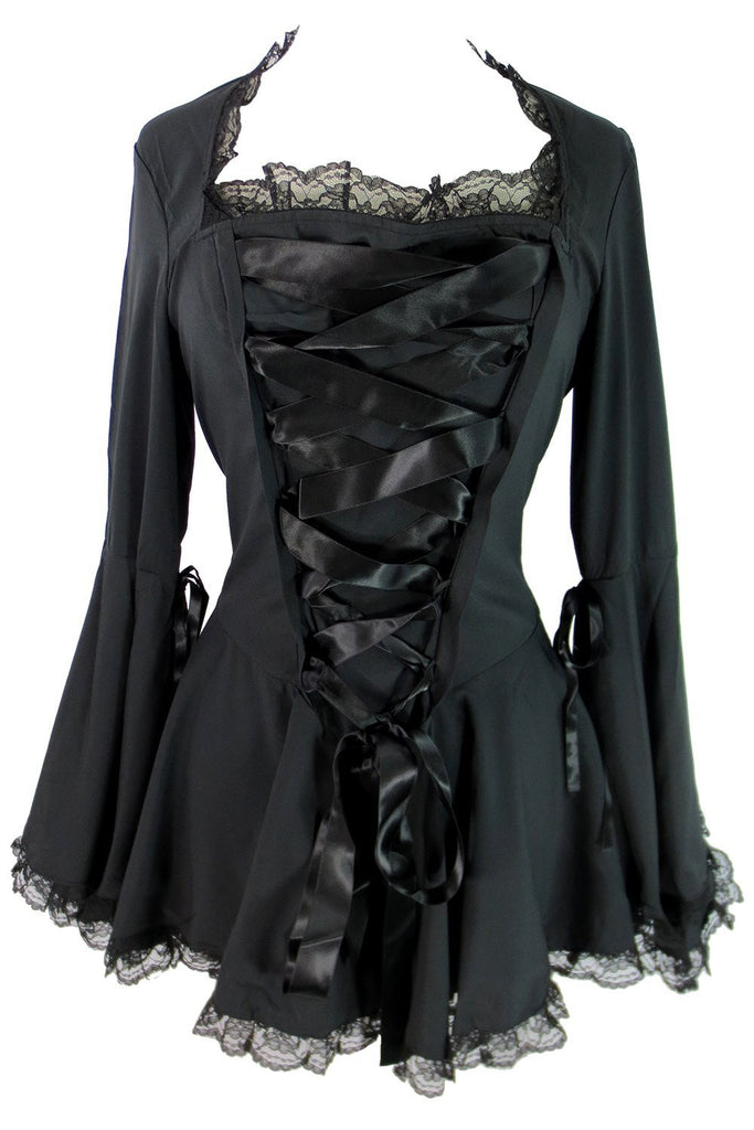Plus size Victorian Gothic Steampunk Bell Sleeves Ribbon Lace Top - Skelapparel
